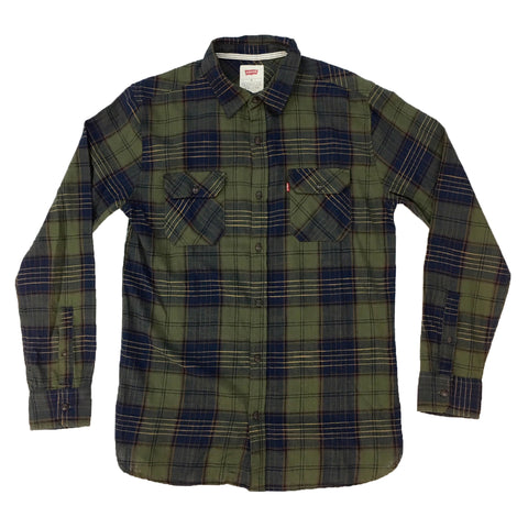 Levis Dark Olive Button Down Long Sleeve Shirt