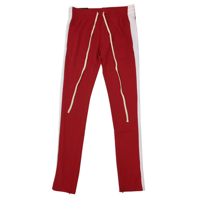 ROYAL BLUE SINGLE STRIP TRACK PANTS (Red/White) - Fashion Landmarks