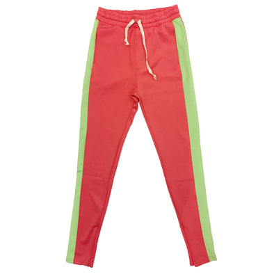 Huge Single Strip Track Pant (Coral/Lime) - Fashion Landmarks