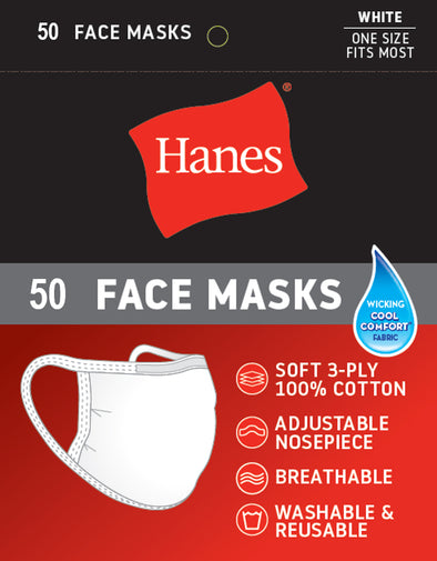 Hanes White Cotton Face Mask 50 Pieces Pack ($1.99 per Piece)