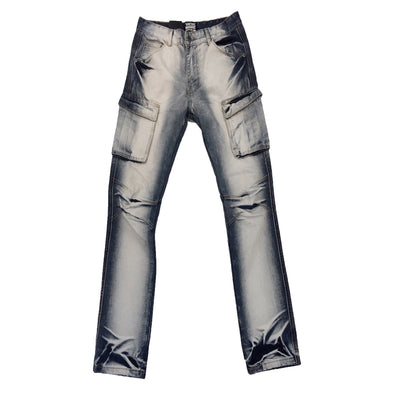 NOBEL JEANS Washed Ice Blue Cargo Jean - Fashion Landmarks