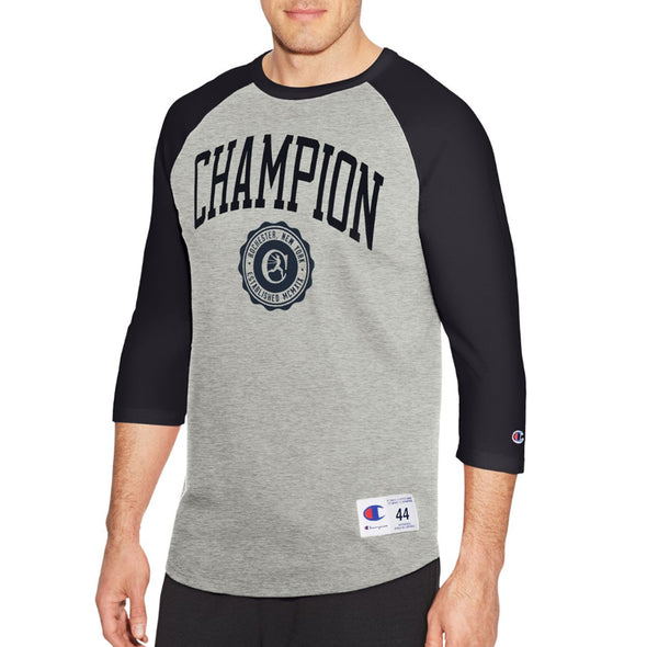 Champion Men's Heritage Baseball Slub Tee, Collegiate Logo With Crest (Grey) - Fashion Landmarks
