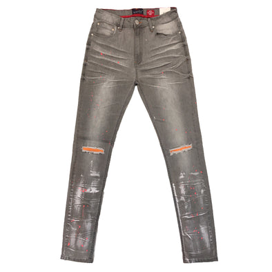 Switch Ripped Paint Denim Jean (Grey/Orange)