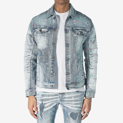 Copper Rivet Paint Denim Jacket (Light Sand Blue)