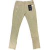 Side Bottom Zipper Ripped Khaki Denim Jean - Fashion Landmarks