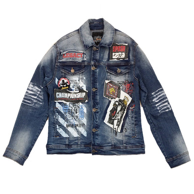 Copper Rivet Legacy Denim Jacket (Blue) - Fashion Landmarks