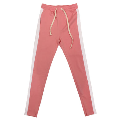 Huge Single Strip Track Pant (Pink/White)