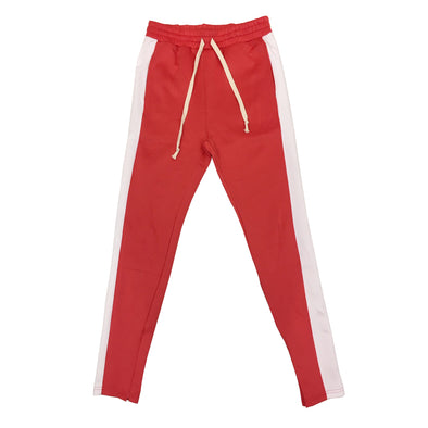Huge Single Strip Track Pant (Coral/White)