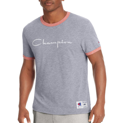 Champion Men's Heritage Ringer Tee, Flocked Script Logo (Grey/Red) - Fashion Landmarks