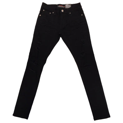 Copper Rivet Ripped Slim Jean (Black) - Fashion Landmarks