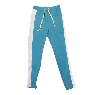 Huge Single Strip Track Pant (Aqua/White)