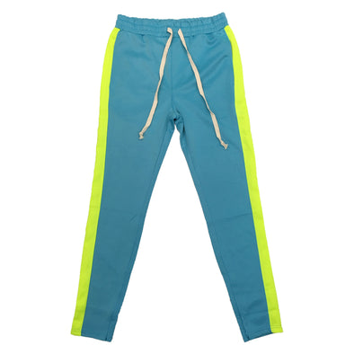 Huge Single Strip Track Pant (Aqua/Lime) - Fashion Landmarks