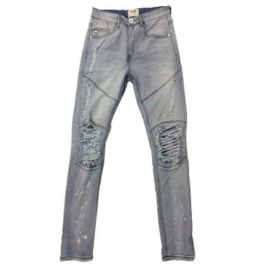 KDNK Vintage Light Blue Ripped Slim Jean