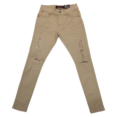 Copper Rivet Ripped Slim Jean (Khaki) - Fashion Landmarks