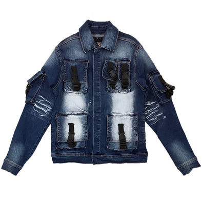 Copper Rivet Utility Denim Jacket (Medium Sand Blue)