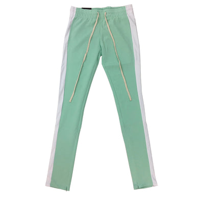 ROYAL BLUE SINGLE STRIP TRACK PANTS (Mint/White) - Fashion Landmarks