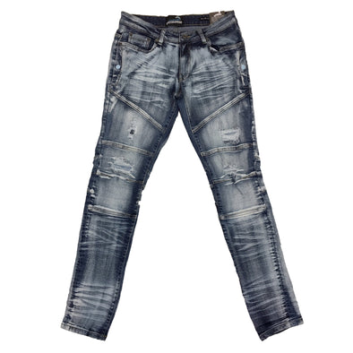 Upstreamers Side Pocket Biker Jean (Bleached Blue)