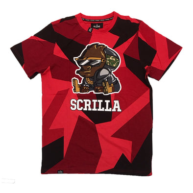 R.S.1NE Scrilla Patch Embroidered Tee (Red) - Fashion Landmarks