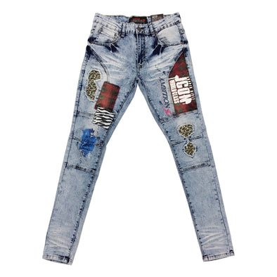 Copper Rivet Animal Printed Jean (Light Sand Blue)
