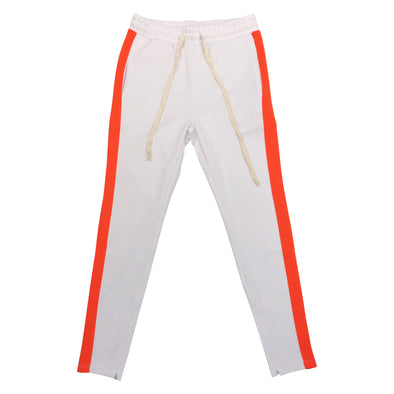 Huge Single Strip Track Pant (White/Orange)