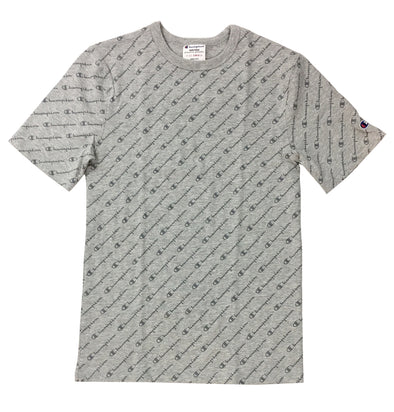 CHAMPION LIFE SCRIPT HERITAGE TEE (Grey) - Fashion Landmarks