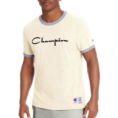 Champion Men's Heritage Ringer Tee, Flocked Script Logo (Cream) - Fashion Landmarks