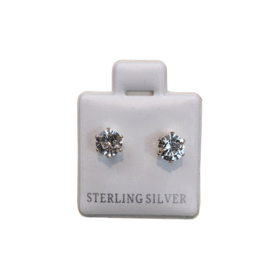 Plated Sterling Silver Cubic Stud Earrings (Circle) - Fashion Landmarks