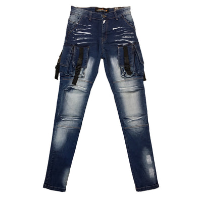 Copper Rivet Utility Jean (Medium Sand Blue) - Fashion Landmarks