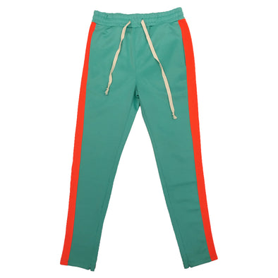 Huge Single Strip Track Pant (Turquoise/Orange)