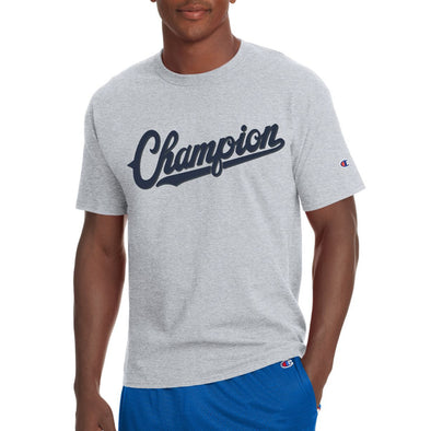 Champion Men's Jersey Tee, Baseball Script Logo (Grey)