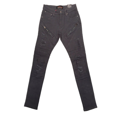 Copper Rivet Zipper Biker Jean (Grey)