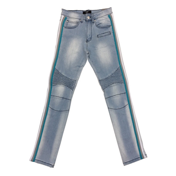 OPS Stripe Biker Jean (Light Blue/Turquoise)