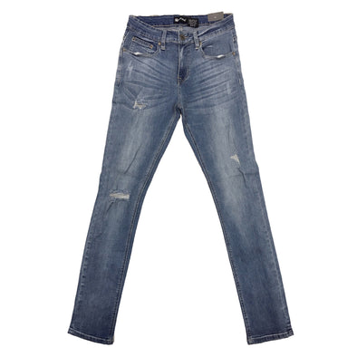 Royal Blue Ripped Skinny Jean (Light Vintage) - Fashion Landmarks