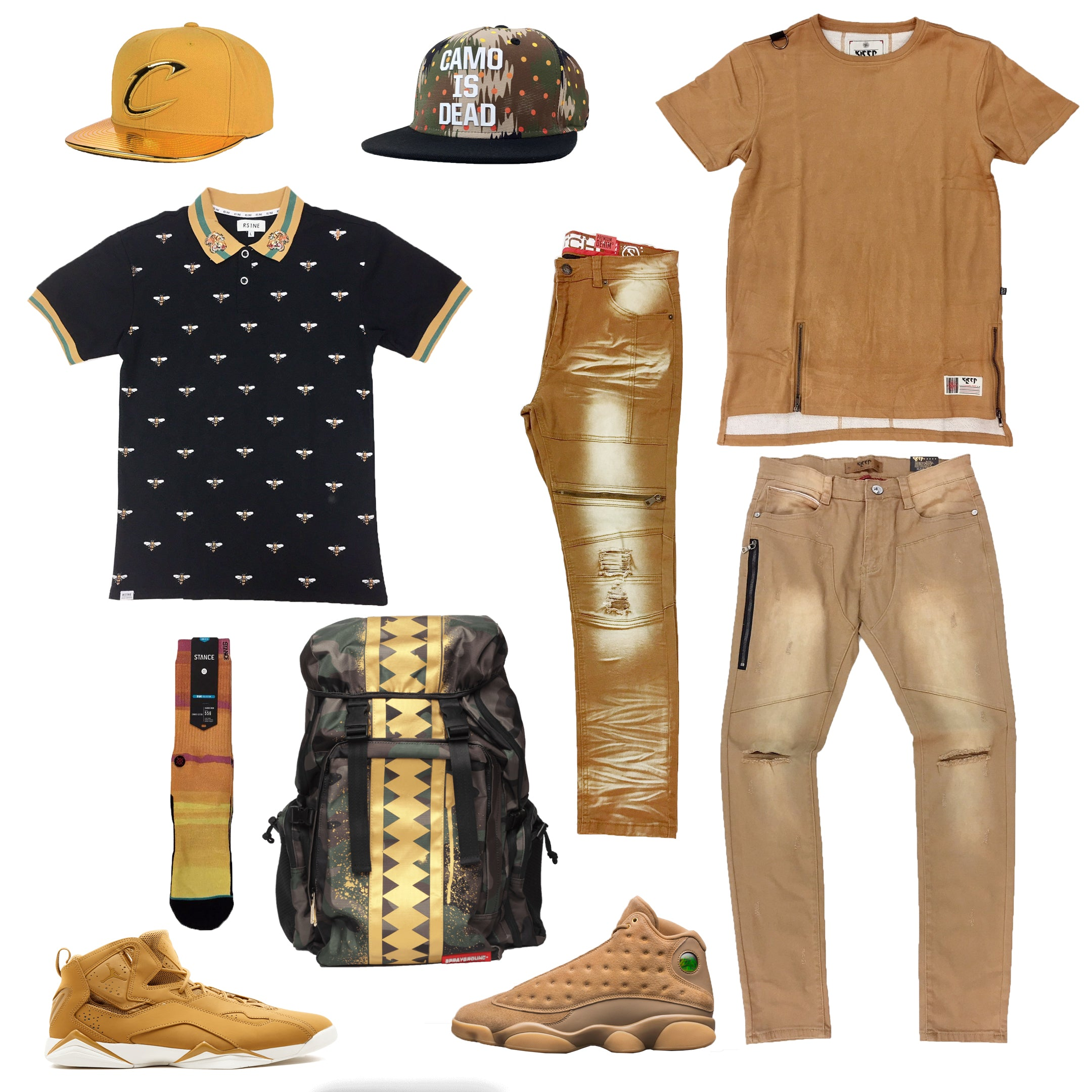 new arrival 8697c 15e85 Air Jordan 13 Retro Wheat   Jordan True Flight Golden Harvest Outfit