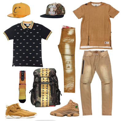 Air Jordan 13 Retro Wheat & Jordan True Flight Golden Harvest Outfit - Fashion Landmarks