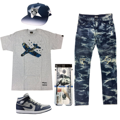 Air Jordan 1 Navy and Cool Grey Outfit