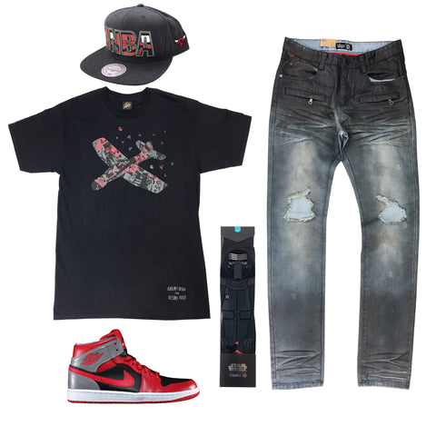 Air Jordan 1 Mid Fire Red Outfit
