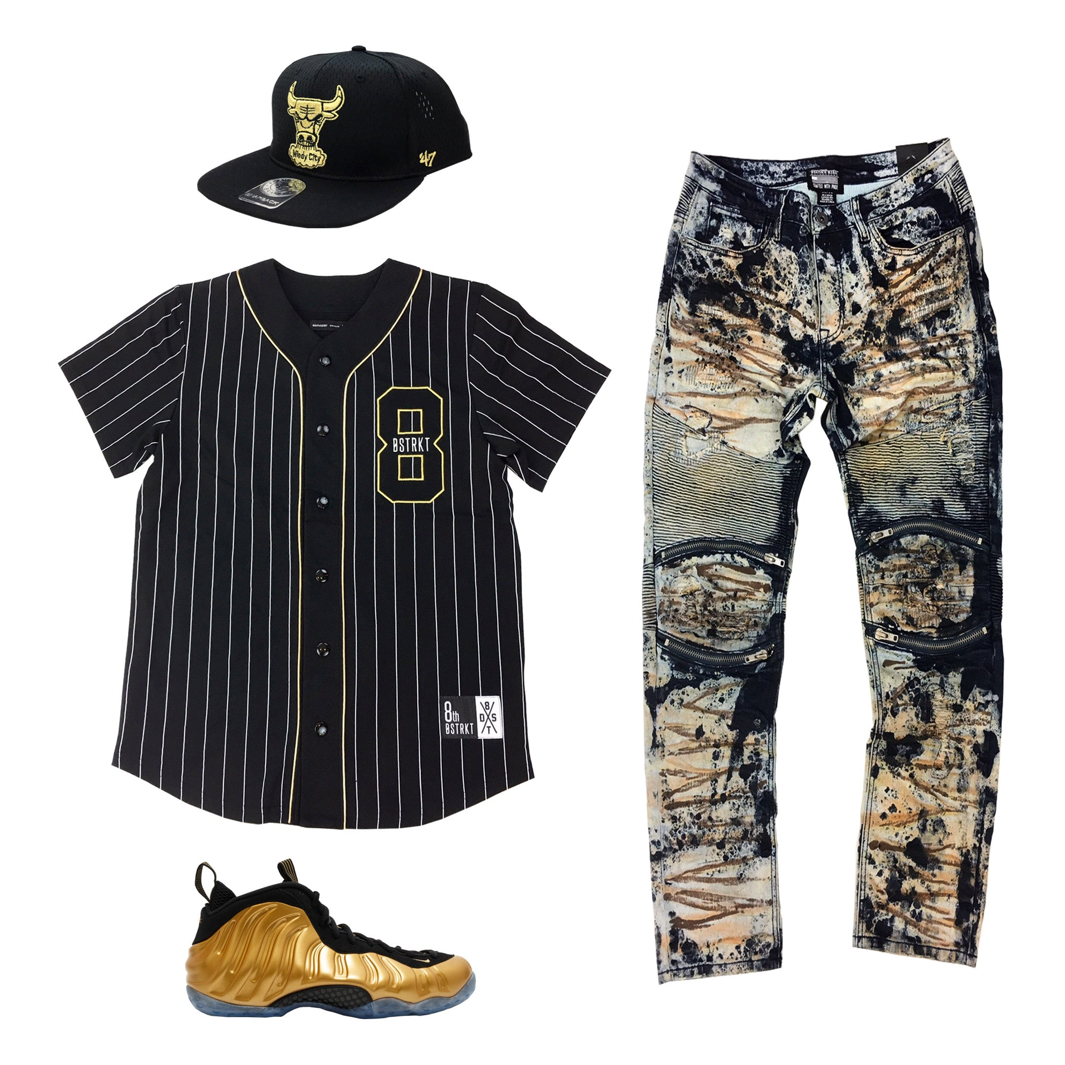 Nike Foamposite One Metallic Gold Outfit - Fashion Landmarks