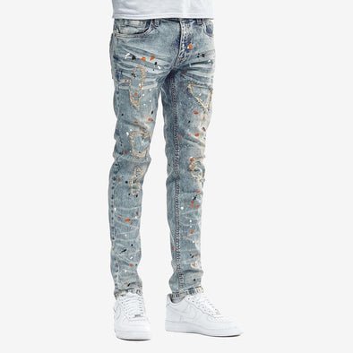 Copper Rivet Painted Jean (Light Tinted Blue)