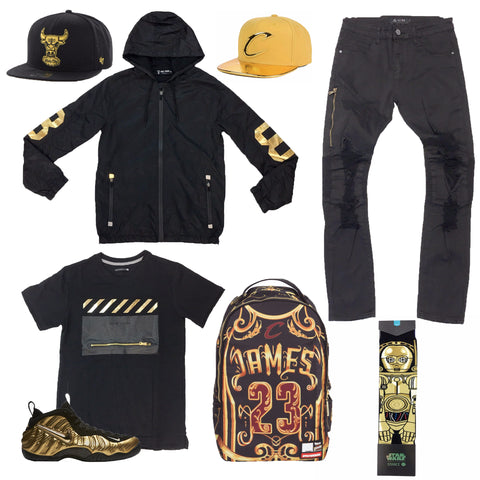 Nike Air Foamposite Pro Gold Black Outfit - Fashion Landmarks