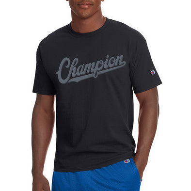 Champion Men's Jersey Tee, Baseball Script Logo (Black)