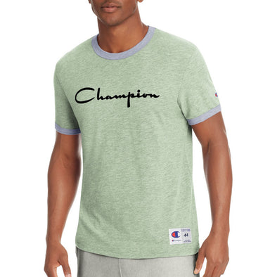 Champion Men's Heritage Ringer Tee, Flocked Script Logo (Olive) - Fashion Landmarks