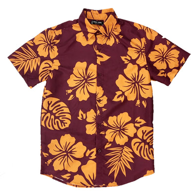 Burgundy Hawaiian Flower Button Down S/S - Fashion Landmarks