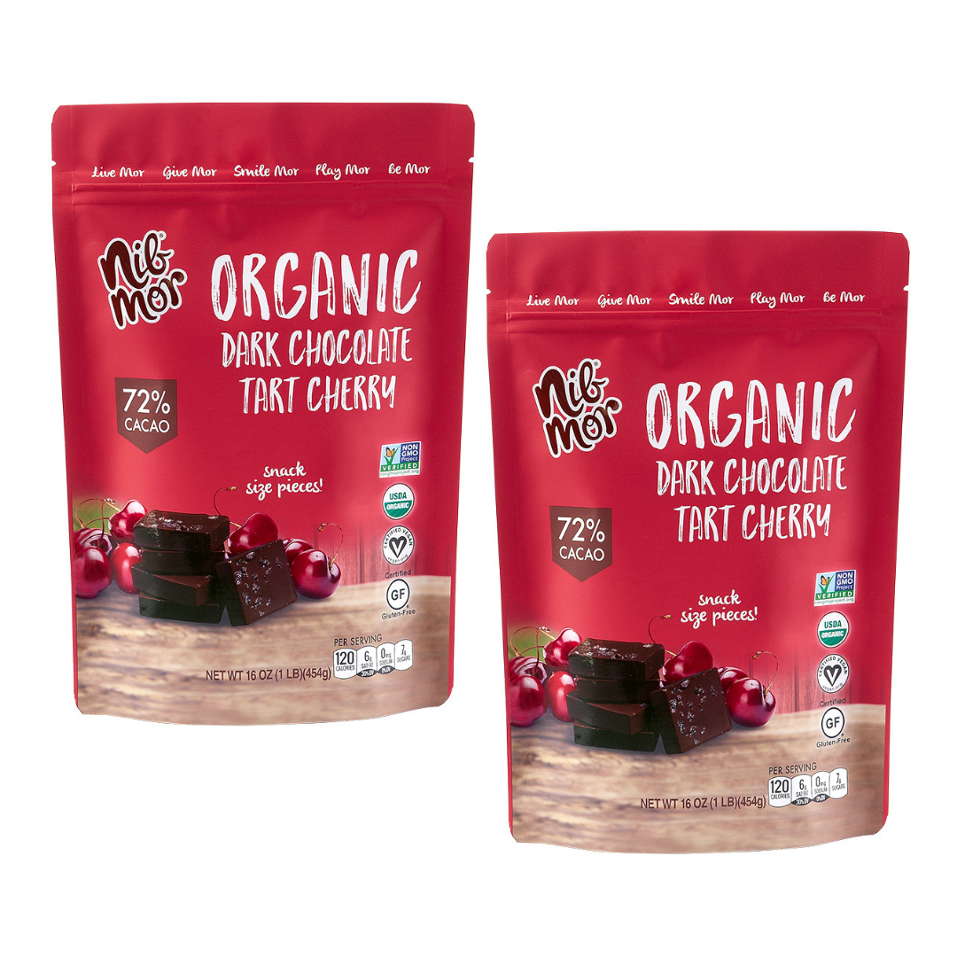16 oz Organic Dark Chocolate with Tart Cherries 72% Cacao Snacking Bag, Organic Bars, NibMor, NibMor - NibMor