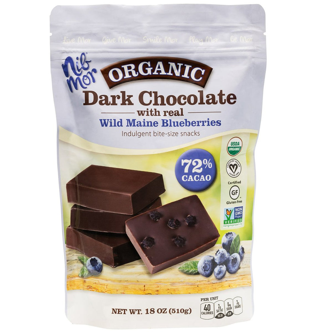 18 oz Organic Dark Chocolate with Wild Maine Blueberries 72% Cacao Snacking Bag, , NibMor, NibMor - NibMor