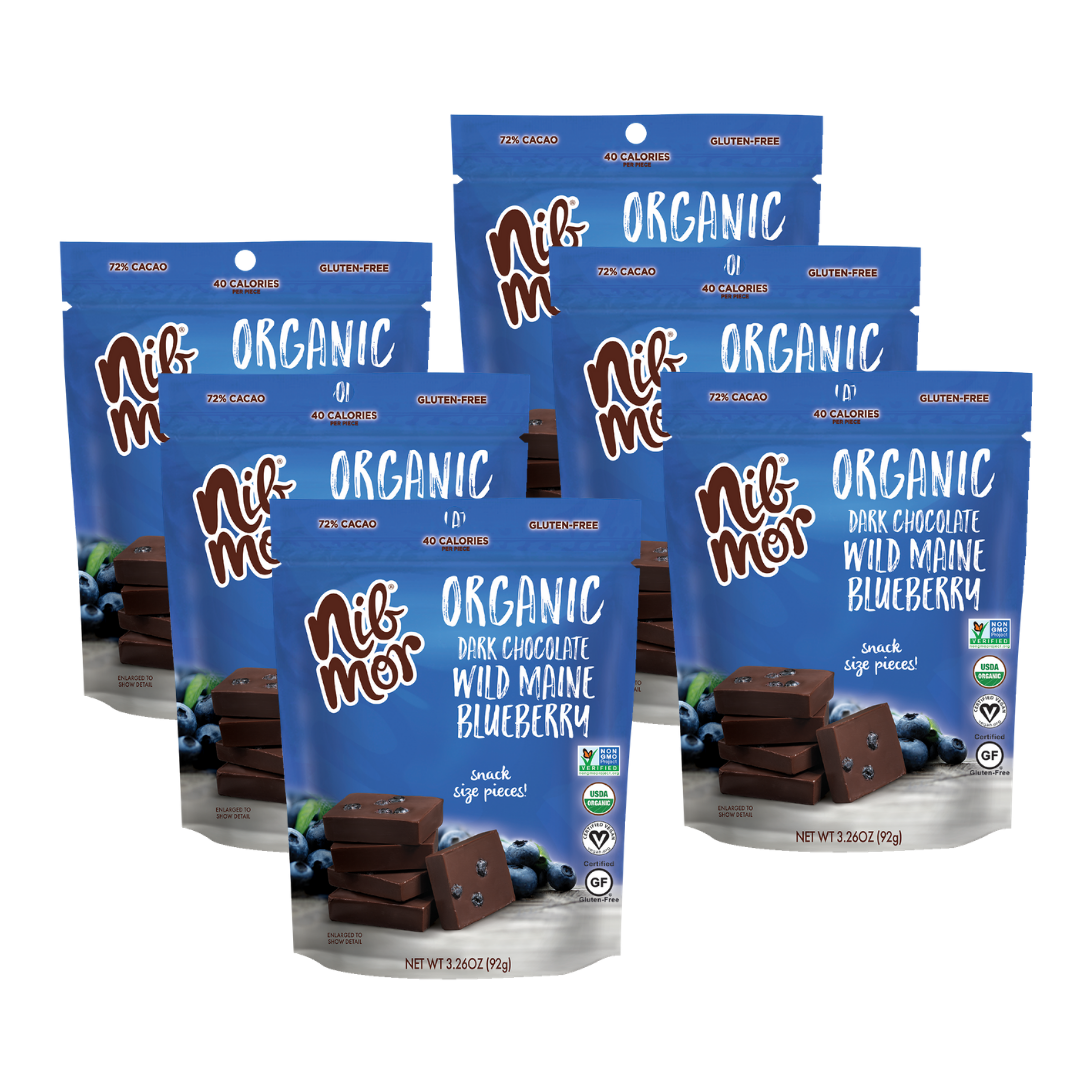 Organic 3.26oz Snacking Bag - Wild Maine Blueberry - 72% Cacao, , NibMor, NibMor - NibMor