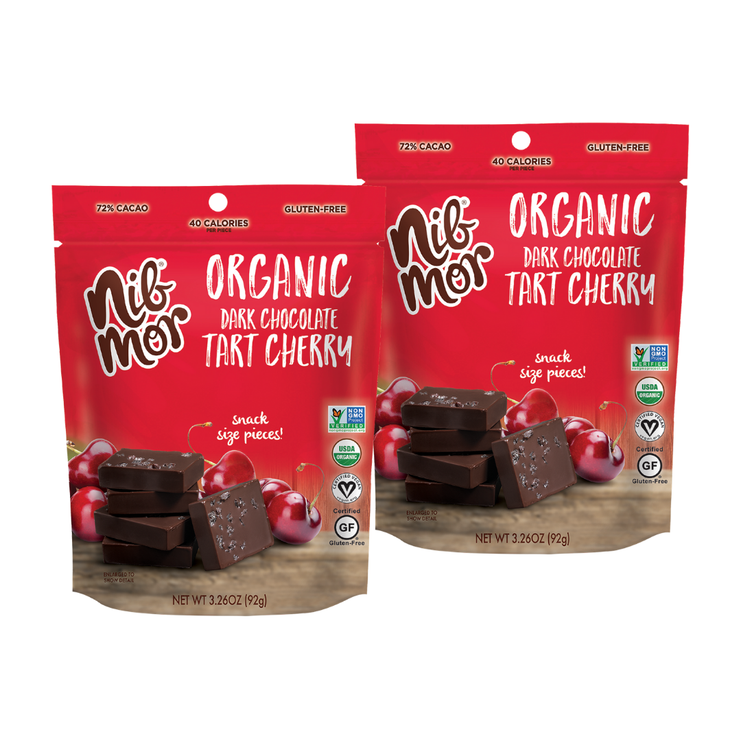 Organic 3.26oz Snacking Bag - Tart Cherry - 72% Cacao - 2 for $11.99, , NibMor, NibMor - NibMor
