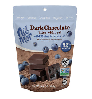 Dark Chocolate Bites with Real Wild Maine Blueberries 5.4oz Bag - Pack 6, Natural Bars, NibMor, NibMor - NibMor
