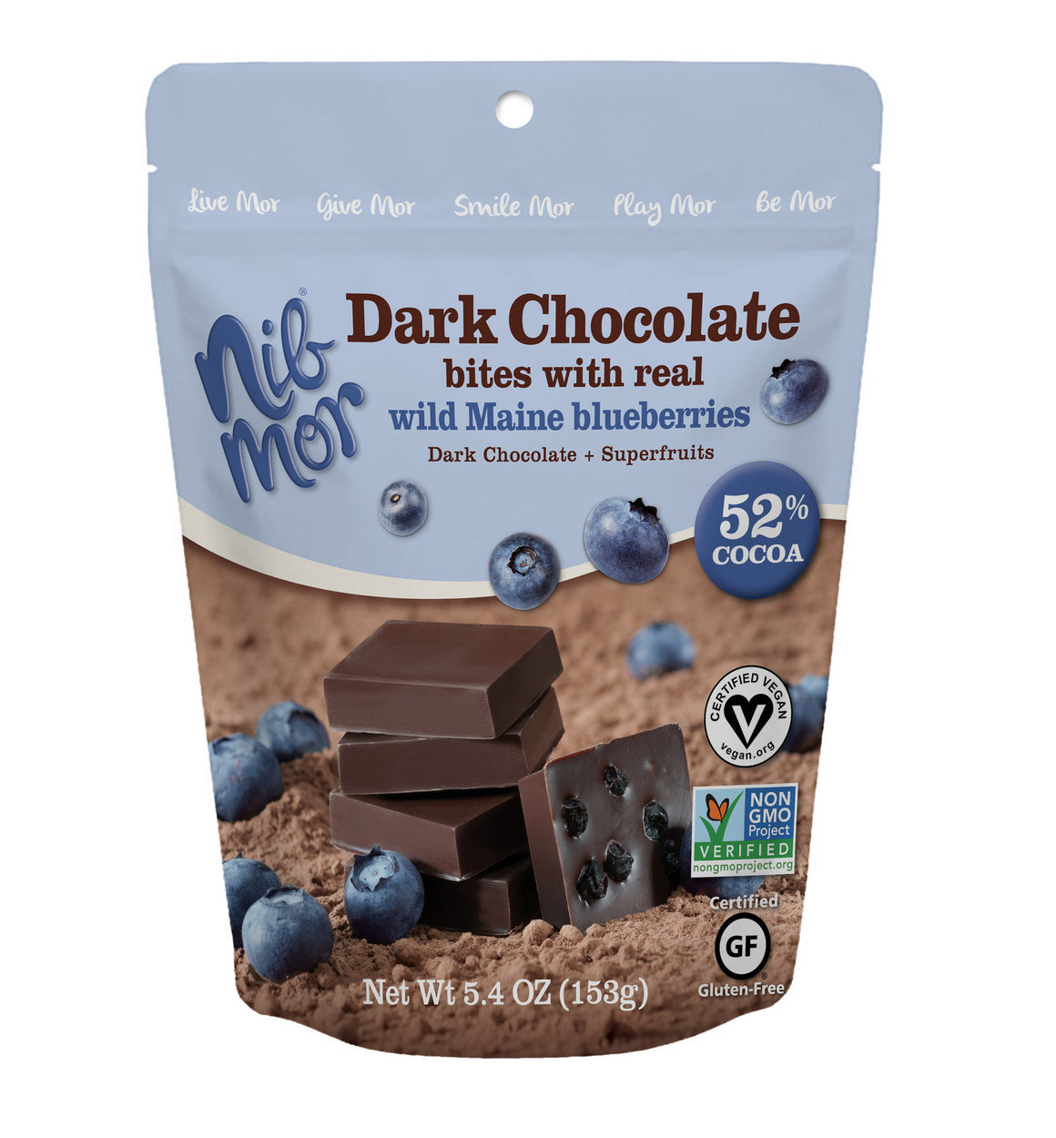 Dark Chocolate Bites with Real Wild Maine Blueberries 5.4oz Bag - Pack 6