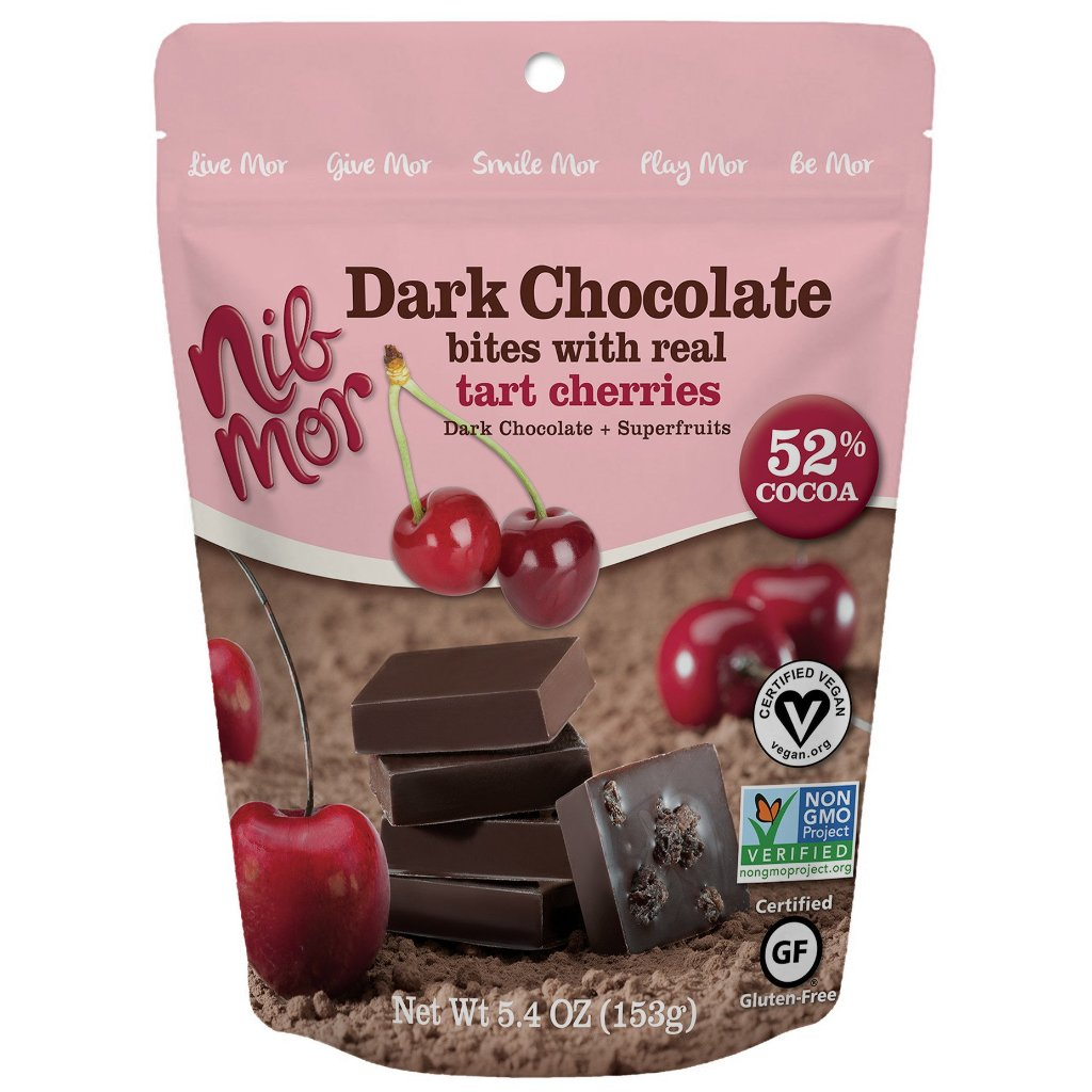 Dark Chocolate Bites with Tart Cherries 5.4 oz Bag - Pack of 6, Natural Bars, NibMor, NibMor - NibMor